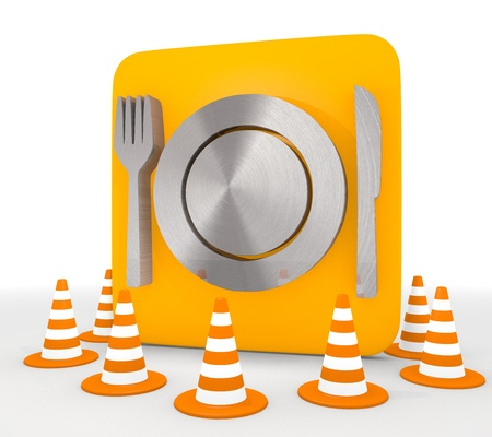 shutoff: Red  cooking meal 3d graphic with decorative restaurant icon