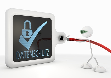 ciphering: Pastel gray  isolated cable 3d graphic with cute datenschutz(english data protection) icon with futuristic 3d character