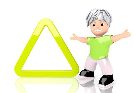 Limerick  happy boy 3d graphic with young triangle sign  with cute 3d character photo