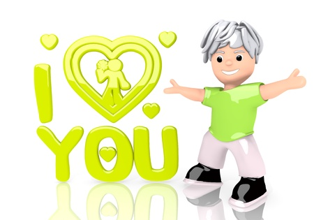 Limerick  childish love 3d graphic with funny I love you icon  with cute 3d character