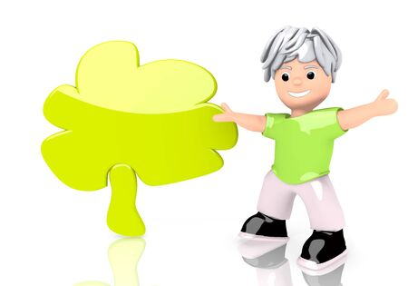autumnn: Limerick  cute design 3d graphic with smooth abstract tree icon  with cute 3d character