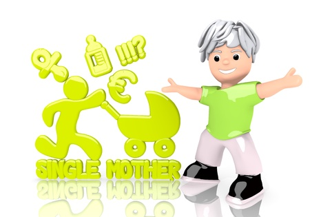 Limerick  funny cartoon 3d graphic with happy single mother symbol  with cute 3d character