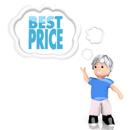 price reduction: Medium Persian blue  creative price reduction 3d graphic with isolated best price icon  thought by a 3d character