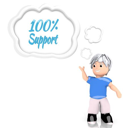 Medium Persian blue  creative 100 percent support 3d graphic with smart support symbol  thought by a 3d character photo