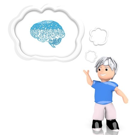 Medium Persian blue  creative boy 3d graphic with isolated brain symbol  thought by a 3d character photo