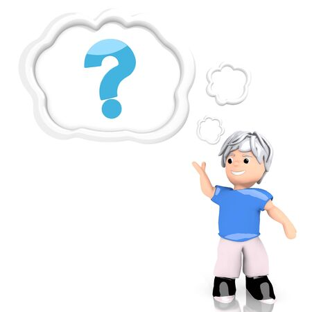 Medium Persian blue  unclear boy 3d graphic with unresolved question icon  thought by a 3d character photo