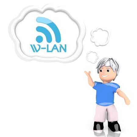wlan: Medium Persian blue  isolated boy 3d graphic with smart w-lan sign  thought by a 3d character Stock Photo