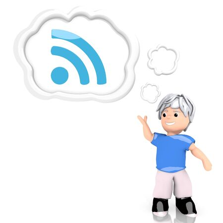 Medium Persian blue  creative w-lan 3d graphic with creative wifi icon  thought by a 3d character photo