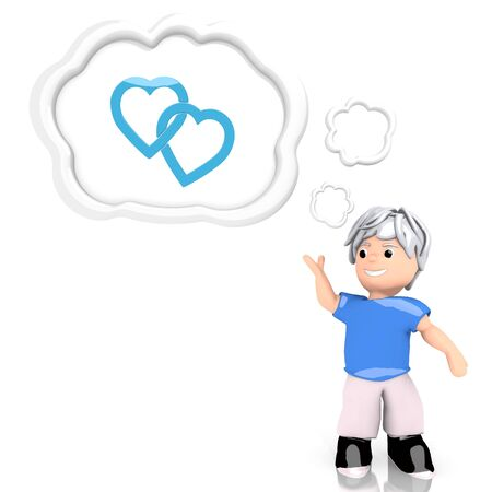 Medium Persian blue  playful heart 3d graphic with smart two hearts sign  thought by a 3d character photo