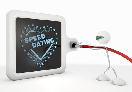 Pastel gray  stylish connection 3d graphic with stylish speed dating symbol with futuristic 3d character photo