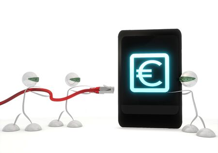 Red  futuristic smartphone 3d graphic with financial Euro symbol on a smart phone with three robots photo