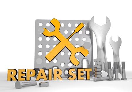 Dark orange  repairing job 3d graphic with technical mechanic icon repair set photo
