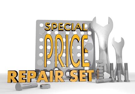 rebate: Dark orange  mechanical rebate 3d graphic with isolated special price pictogram repair set