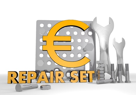 euro screw: Dark orange  isolated gearbox 3d graphic with isolated Euro icon repair set