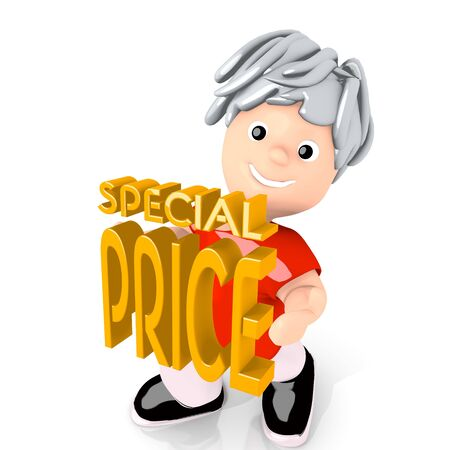 deduction: Dark orange  presenting deduction 3d graphic with presenting special price symbol  carried by a cute boy