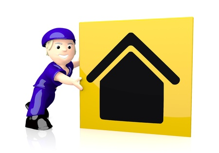 White  nice character 3d graphic with happy building icon  on yellow post box photo