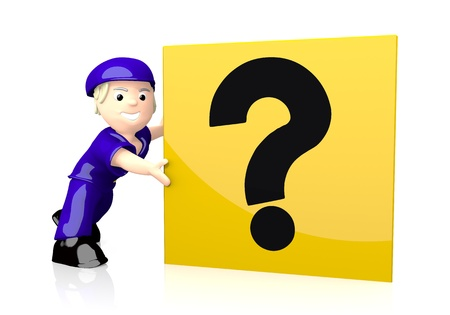 unclear: White  unclear postman 3d graphic with nice question icon  on yellow post box Stock Photo