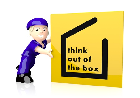 new business: White  happy character 3d graphic with different think out of the box symbol  on yellow post box Stock Photo