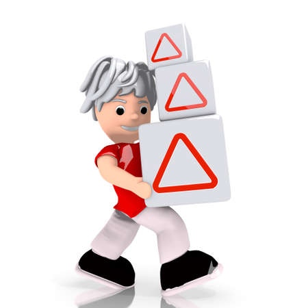 carried: Dark red  isolated cartoon 3d graphic with conceptual triangle sign  carried by a cute character
