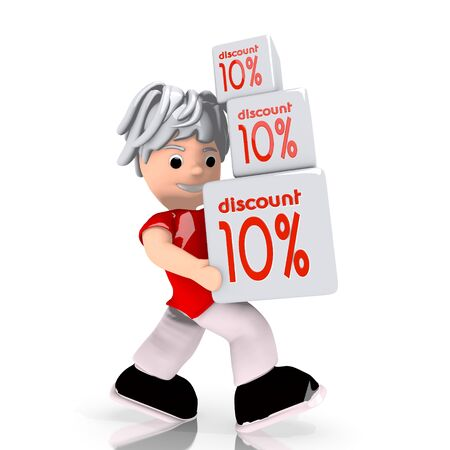 deduction: Dark red  -10 deduction 3d graphic with conceptual discount sign  carried by a cute character Stock Photo