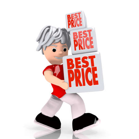 carried: Dark red  lowest price rabat 3d graphic with isolated best price icon  carried by a cute character