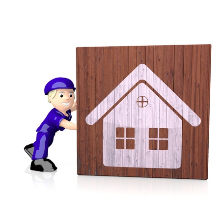 delivered: White  3d building 3d graphic with nice house icon  on delivered box Stock Photo