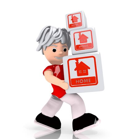carried: Dark red  simple boxes 3d graphic with conceptual home symbol  carried by a cute character