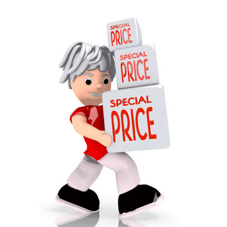 deduction: Dark red  conceptual deduction 3d graphic with conceptual special price symbol  carried by a cute character