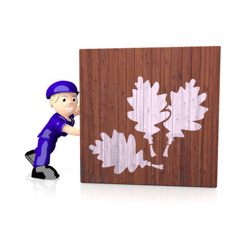 autumnn: White  natural fall 3d graphic with natural oak leaves symbol  on delivered box Stock Photo