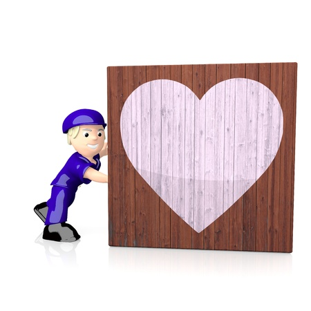 delivered: White  isolated character 3d graphic with loving heart symbol  on delivered box Stock Photo