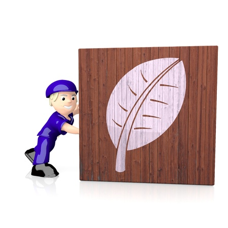 delivered: White  natural character 3d graphic with ecological leave symbol  on delivered box