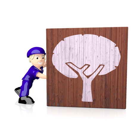 delivered: White  natural postman 3d graphic with 3d abstract tree icon  on delivered box Stock Photo