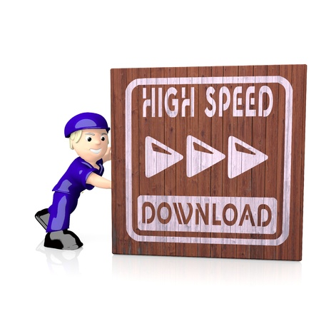 delivered: White  fast postman 3d graphic with isolated high speed download icon  on delivered box
