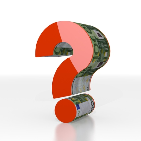 Red  expensive problem 3d graphic with unresolved question sign  with euro texture photo