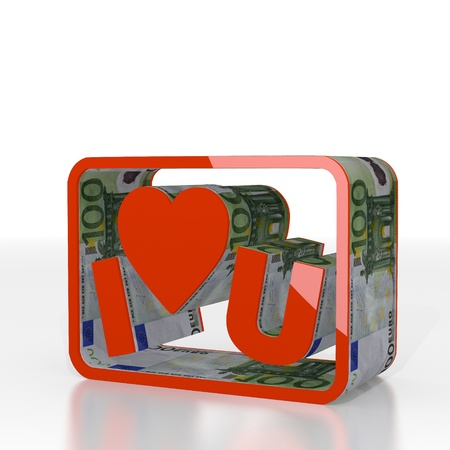 Red  isolated cash 3d graphic with isolated I love you icon  with euro texture photo