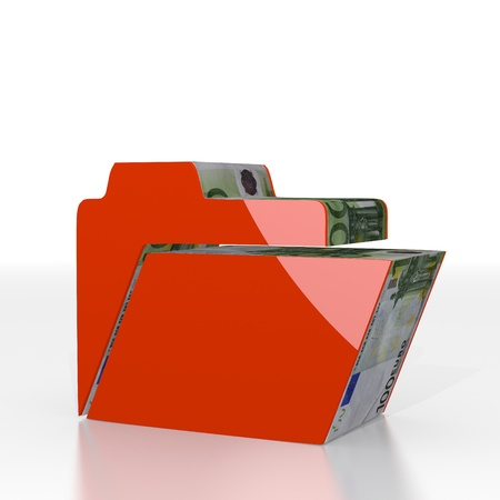 sorted: Red  sorted file 3d graphic with shiny folder icon  with euro texture
