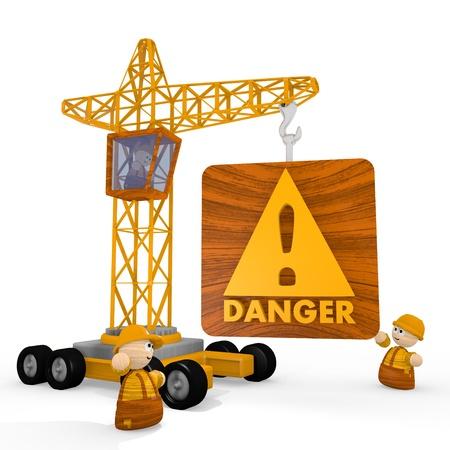 risky: Dark orange  risky tower crane 3d graphic with childish Danger symbol with a crane