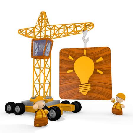 blockade: Dark orange  childish construct 3d graphic with cute idea symbol with a crane Stock Photo