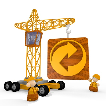 blockade: Dark orange  renewable tower crane 3d graphic with tiny recycling symbol with a crane