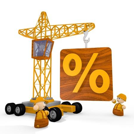 develope: Dark orange  cute construct 3d graphic with cute percent symbol with a crane
