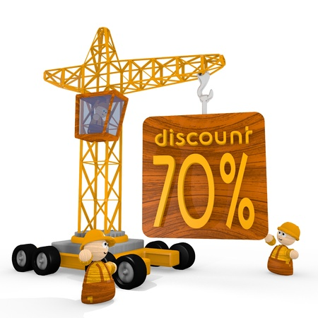blockade: Dark orange  tiny blockade 3d graphic with -70 discount icon with a crane