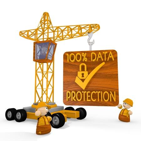 Dark orange  tiny SSL 3d graphic with tiny data protection symbol with a crane