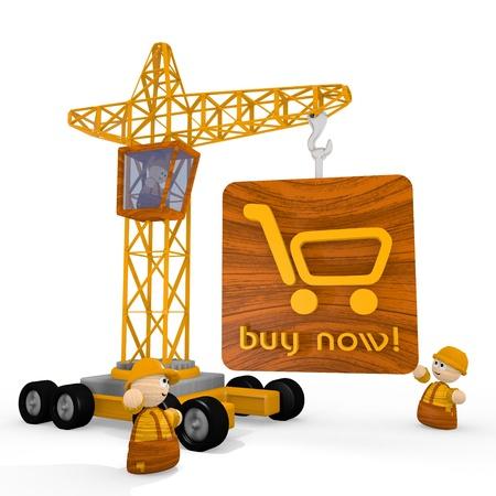 blockade: Dark orange  cute builder 3d graphic with childish buy now icon with a crane