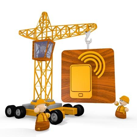 develope: Dark orange  childish build 3d graphic with tiny smart phone symbol with a crane