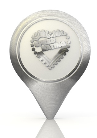 Pastel gray  modern map 3d graphic with metallic speed dating sign on a chrome map marker photo