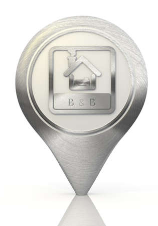 Pastel gray  symbol hotel 3d graphic with stylish bed and breakfast sign on a chrome map marker photo