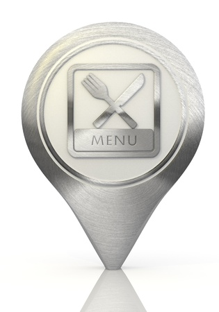 Pastel gray  metallic food 3d graphic with simple menu sign on a chrome map marker photo