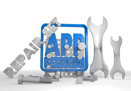 Medium blue  mechanical set 3d graphic with isolated app download pictogram repair set photo