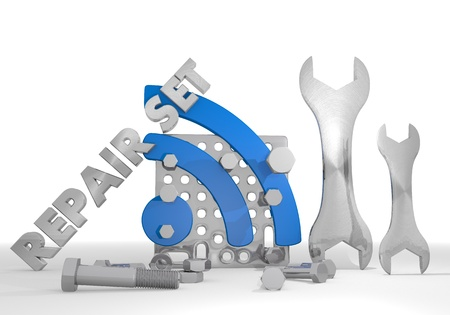gearbox: Medium blue  isolated gearbox 3d graphic with mechanical wifi pictogram repair set Stock Photo