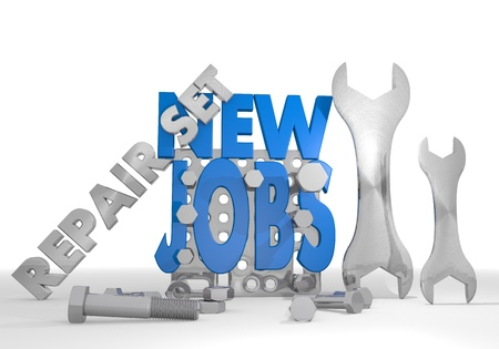 employing: Medium blue  isolated employing 3d graphic with mechanical new jobs icon repair set